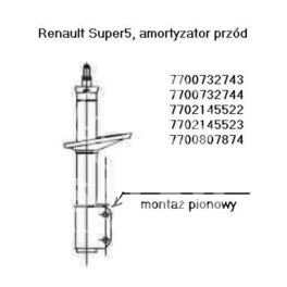 amortyzator Renault SUPER5 przód L/P  GAZ - zamiennik francuski RECORD