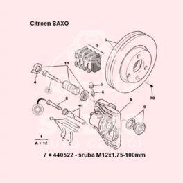 śruba zacisku hamulcowego Citroen AX/ Saxo/ Peugeot 106 M12x1,75-100 ATE (oryginał Peugeot)