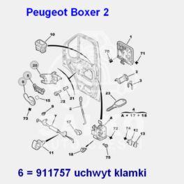 klamka wewnętrzna Citroen Jumper II/ Peugeot BOXER 2 przód lewa (uchwyt) (oryginał Peugeot)