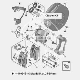śruba zacisku hamulcowego Citroen C8/ Jumpy/ Peugeot 806/ Expert M14x1,25-35mm LUCAS (oryginał Peugeot)
