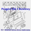 listwa drzwi Peugeot 206 3 drzwiowy lewa do malowania - oryginał Peugeot