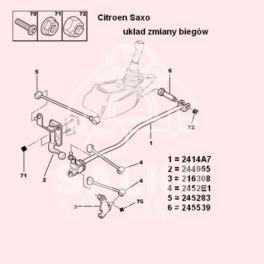 cięgno biegów Citroen, Peugeot 189/2x9 MA z tłumikiem Peugeot 106 (x2) (oryginał Peugeot)