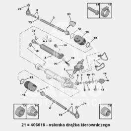 osłona przekładni kierowniczej  Citroen/ Peugeot 39x10 wsp.kier. (oryginał Peugeot)
