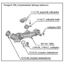 odbojnik belki tył Peugeot 106/ 206 H-48mm (oryginał Peugeot)