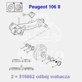 odbojnik belki tył Peugeot 106 II H-56mm (oryginał Peugeot)