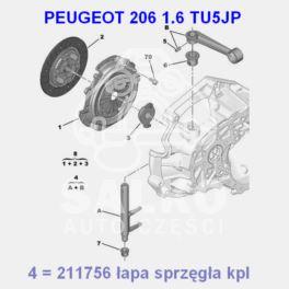 łapa sprzęgła Peugeot 206 2000- obrotowa do skrzyni MA (oryginał Peugeot)