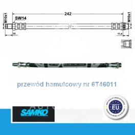 przewód hamulcowy elastyczny CLIO I przód 268mm - zamiennik włoski SAMKO