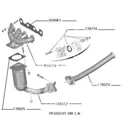 rura wydechowa Peugeot 206 1,1-1,6-16v KAT pierwsza (oryginał Peugeot)