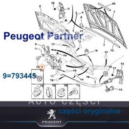 zatrzask maski Citroen, Peugeot 1991- (prawa) (oryginał Peugeot)