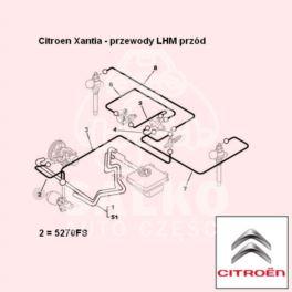 przewód LHM Citroen XANTIA zasilający 752mm |- (oryginał Citroen)