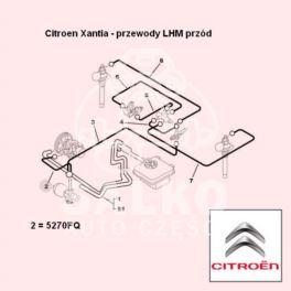 przewód LHM Citroen XANTIA zasilający 1029mm (oryginał Citroen)