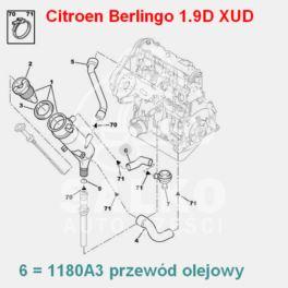 przewód olejowy Citroen, Peugeot 1,9D XUD9 do regul.ciśnienia (oryginał Peugeot)