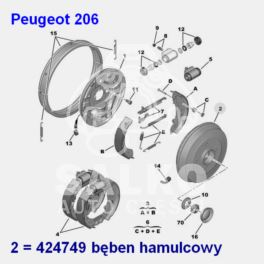 bęben hamulcowy Peugeot 206 +ABS z łożyskiem (oryginał Peugeot)