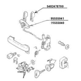 klamka wewnętrzna Citroen C15 prawy przód kpl (oryginał Citroen)