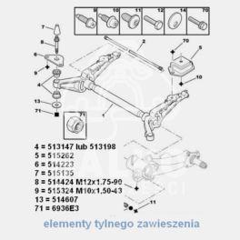 podkładka śruby belki tył Citroen BERLINGO (okrągła) (oryginał Peugeot)