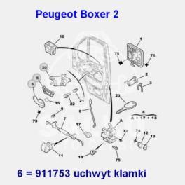 klamka wewnętrzna Citroen Jumper II/ Peugeot BOXER 2 przód prawa (uchwyt) (oryginał Peugeot)