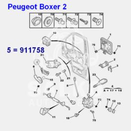 klamka wewnętrzna Citroen Jumper II/ Peugeot BOXER 2 przód lewa (mechanizm) (oryginał Peugeot)