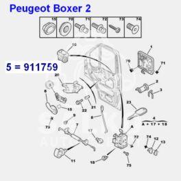 klamka wewnętrzna Citroen Jumper II/ Peugeot BOXER 2 przód prawa (mechanizm) (oryginał Peugeot)