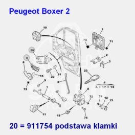klamka wewnętrzna Citroen Jumper II/ Peugeot BOXER 2 przód prawa (mocowanie) (oryginał Peugeot)