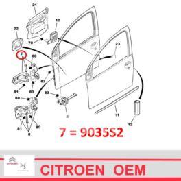 zawias drzwi Citroen C1/ Peugeot 107 prawy - górny (oryginał Citroen)