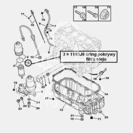oring obudowy filtra oleju Citroen, Peugeot 1,1i/1,4i TU pod pokrywę (oryginał Peugeot)