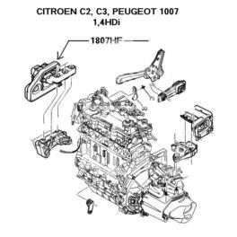 poduszka silnika C2/C3/1007 1,4HDi prawa (oryginał Peugeot)
