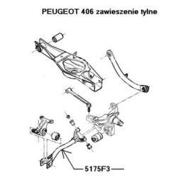 wahacz Peugeot 406 prawy tył (oryginał Peugeot)
