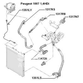 przewód wodny chłodnicy P207 chłodnicy górny 1,4HDi (oryginał Peugeot)