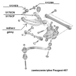 silentblock - tulejka wahacza Peugeot 407 górnego tył (oryginał Peugeot)