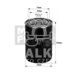 filtr oleju Citroen, Peugeot, Fiat 2000- M22x1,5 2,8HDi - niemiecki Mann Filter