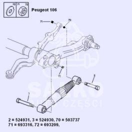 śruba amortyzatora tył Citroen SAXO/ Peugeot 106 do belki (oryginał Peugeot)