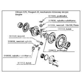 mechanizm różnicowy Citroen C25/ Peugeot J5 krzyżak sworzni zębatek (oryginał Peugeot)