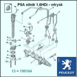 podkładka wtryskiwacza DIESEL PSA 1,6HDi (pierścień) (oryginał Peugeot)