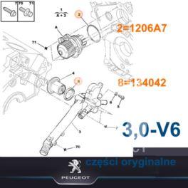 uszczelka pompy wody Citroen, Peugeot 3,0-V6-24v ES9J4 (oryginał Peugeot)