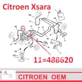 przewód hamulcowy metalowy XSARA przód pra/pom 960mm +ABS (oryginał Citroen)