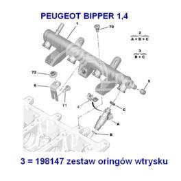 oring wtrysku benzyna Citroen, Peugeot KPL/2szt (oryginał Citroen)