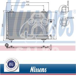 chłodnica klimatyzacji Citroen C5 X7/ C6/ Peugeot 407 + osuszacz - zamiennik duński NISSENS