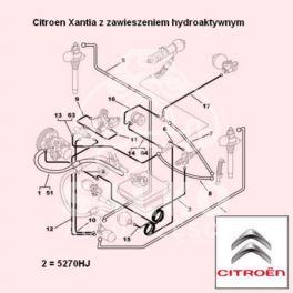 przewód LHM Citroen XANTIA zasilający 812mm (oryginał Citroen)