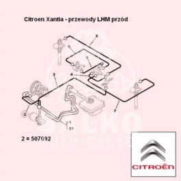 przewód LHM Citroen XANTIA zasilający 752mm -| (oryginał Citroen)