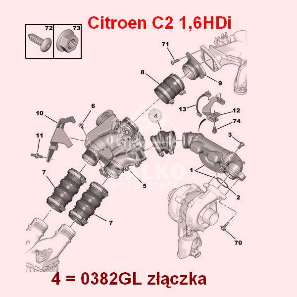 W Mega przewód powietrza Citroen C2/ C3 II 1,6HDi przepustnica/ złączka PG94