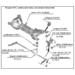 śruba belki tył Peugeot 407 do karoserii - tylna M12 (oryginał Peugeot)