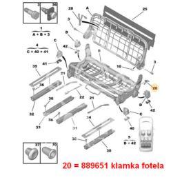 uchwyt regulacji fotela Citroen C8/ Peugeot 807 podnoszenie L (oryginał Peugeot)