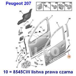 listwa drzwi Peugeot 207 prawy przód - czarna (oryginał Peugeot)